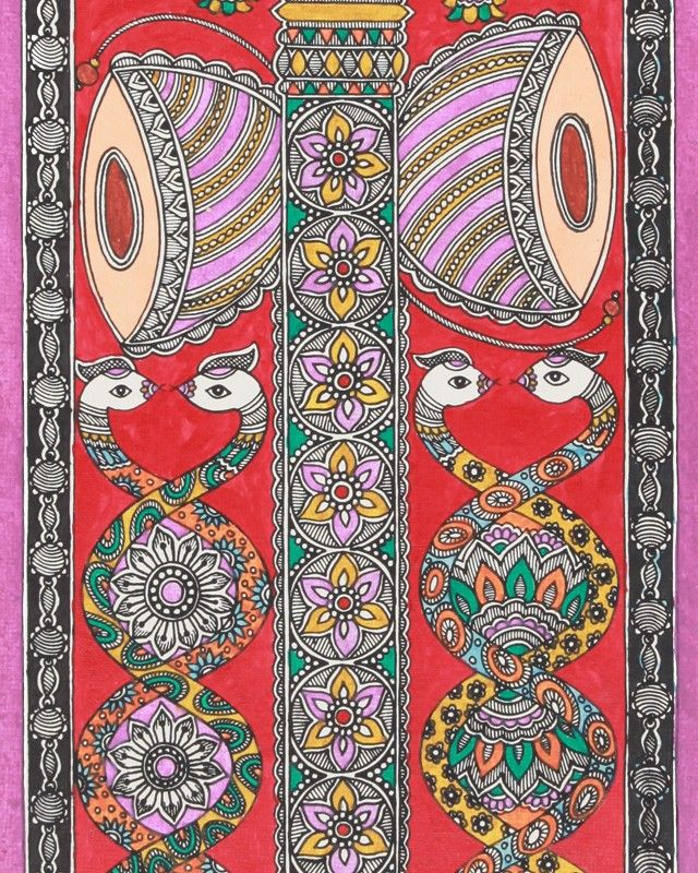 Madhubani: Trishul (Trident) - Folk Art - Art & Wall Decor - Home ...