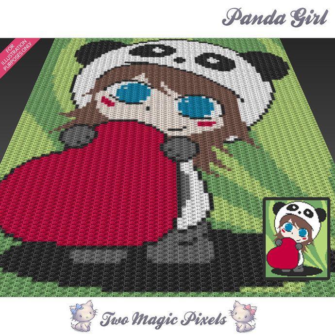 Panda Girl c2c graph crochet pattern; instant PDF download; baby ...