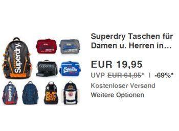 Ebay: Superdry-Taschen und -Rucksäcke für 19,95 Euro frei Haus https://www.discountfan.de/artikel/klamotten_&_schuhe/ebay-superdry-taschen-und-rucksaecke-fuer-19-95-euro-frei-haus.php Via Ebay sind jetzt Dutzende Superdry-Taschen und -Rucksäcke zum Einheitspreis von 19,95 Euro mit Versand zu haben – in den ersten Stunden wurden schon mehrere hundert Stück verkauft. Ebay: Superdry-Taschen und -Rucksäcke für 19,95 Euro frei Haus (Bild: Ebay.de) Die Superdry-Tasche