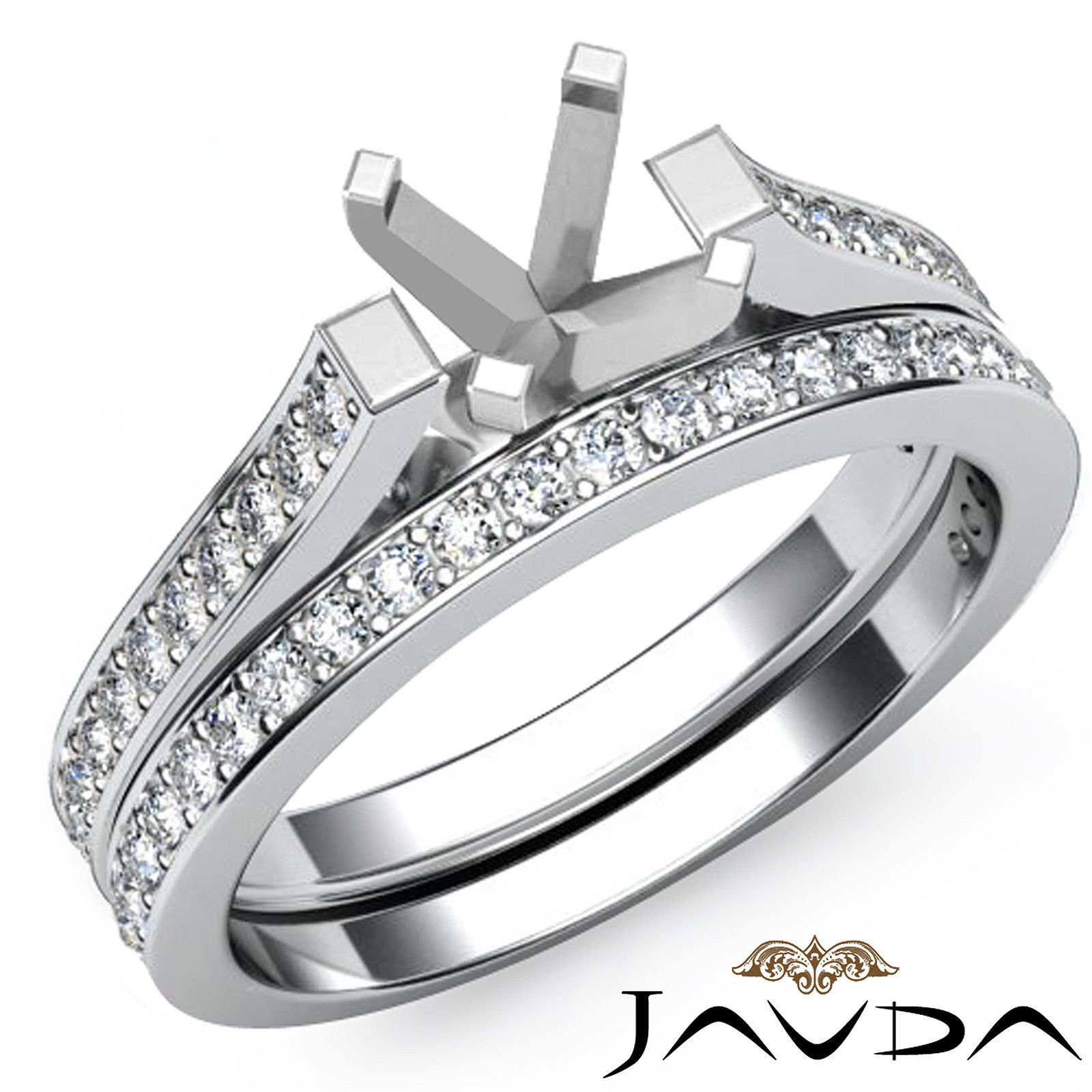 Pave Princess Diamond Engagement Bridal Ring Set Platinum 950 Semi Mount 0 57ct | eBay
