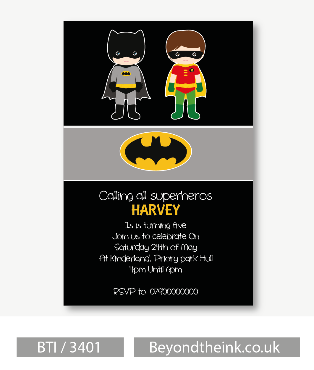 Personalised Batman & Robin Invitations. Printed on Professional 300 ...
