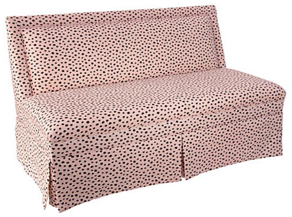 Pink polka dot settee