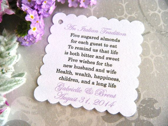 300 Custom Printed Jordan Almond Wedding Favor Tags On White Card Stock