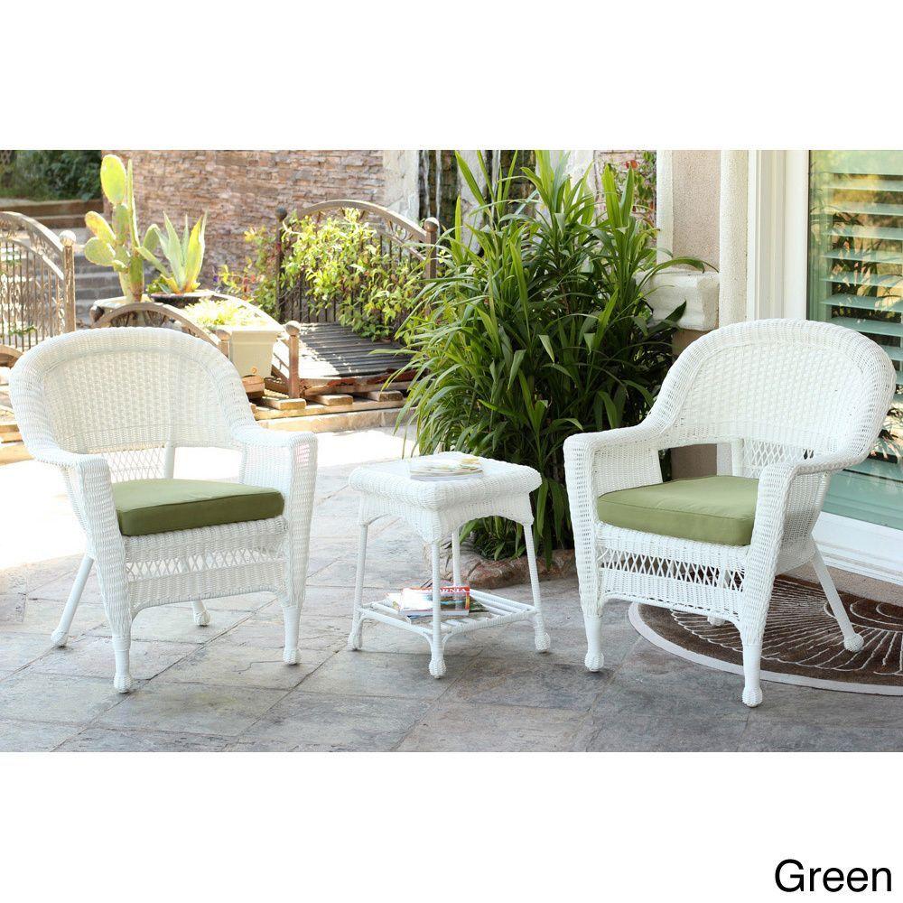 jeco 3 piece white wicker bistro set patio furniture products rh pinterest com