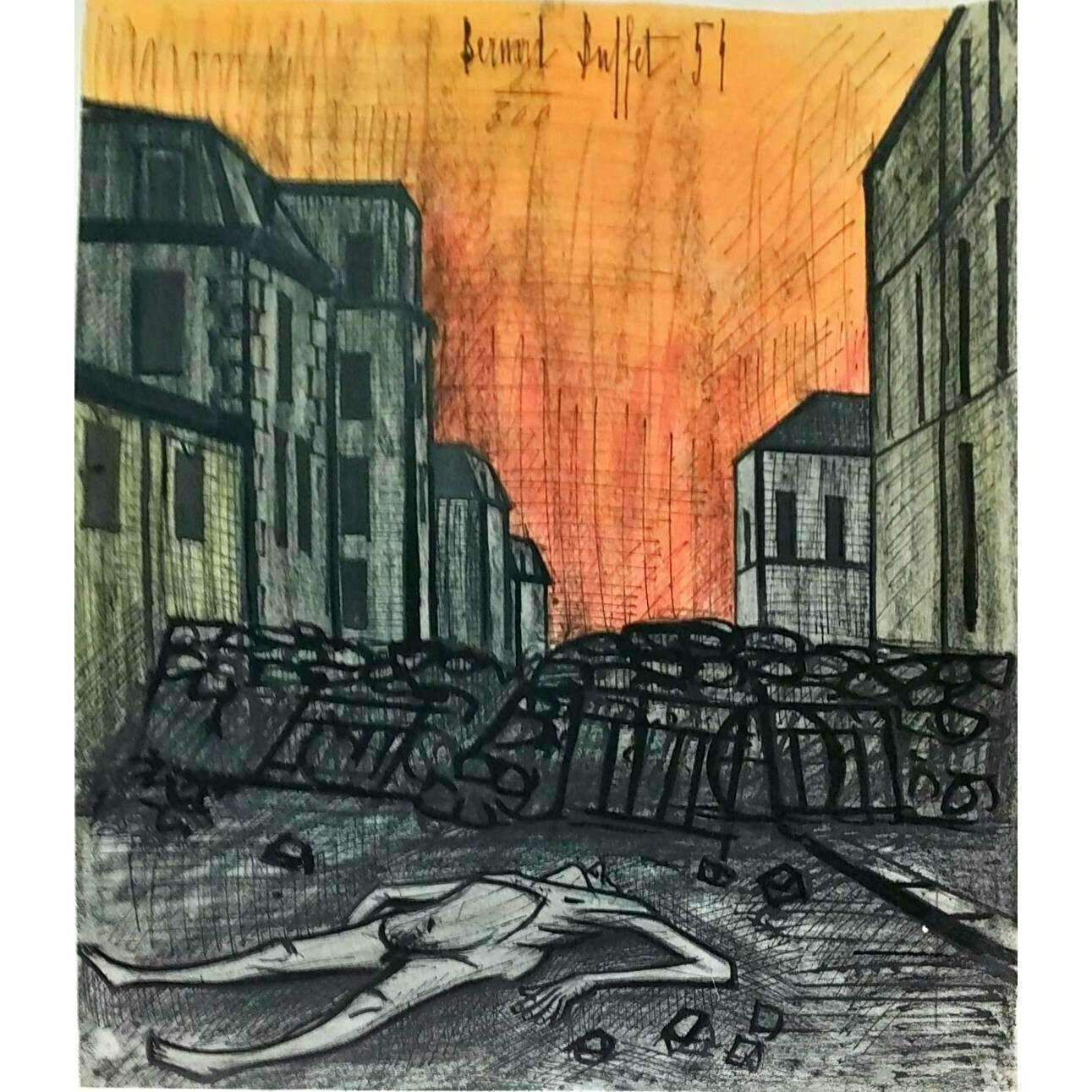 Magnificent Bernard Buffet War Horror 1954 Original Lithograph 85 300 Download Free Architecture Designs Momecebritishbridgeorg