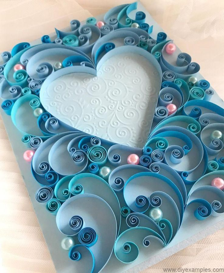 Quilling Art - 3D Handmade Greeting Card - Wedding Card - Love Card - Quilling Heart - Valentine's d