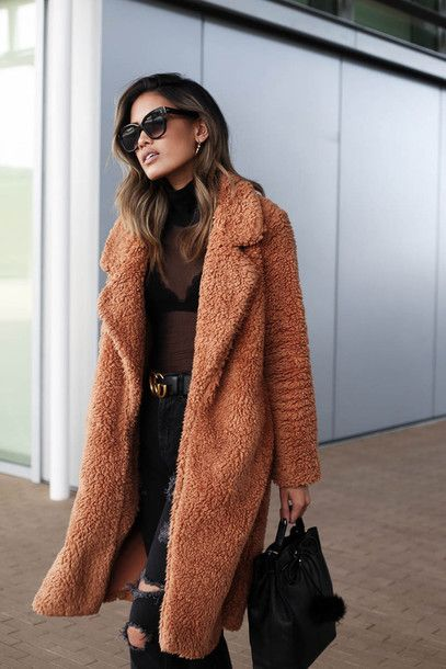 Coat: tumblr camel camel camel fluffy fluffy fuzzy teddy bear denim jeans black jeans ripped jeans