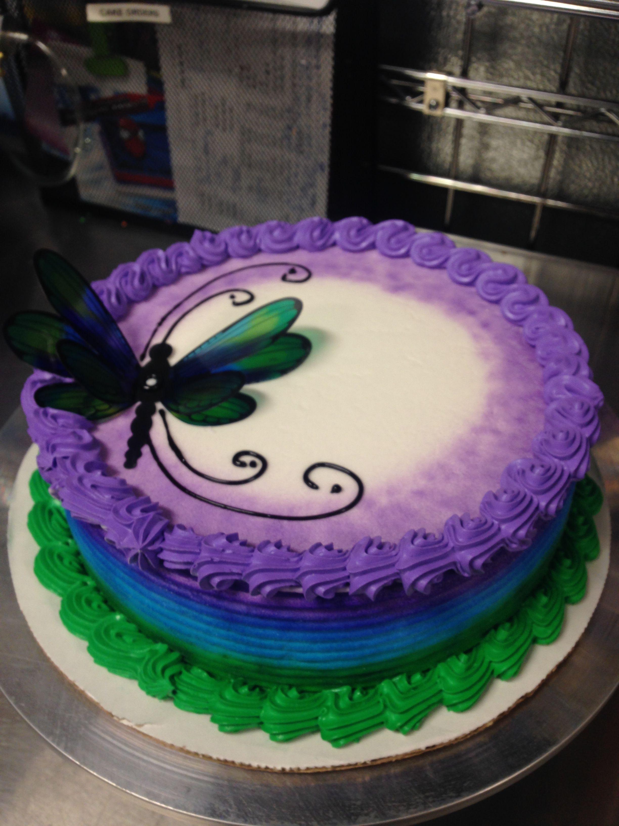 Dq ice cream cake with dragonfly cake cake decorating