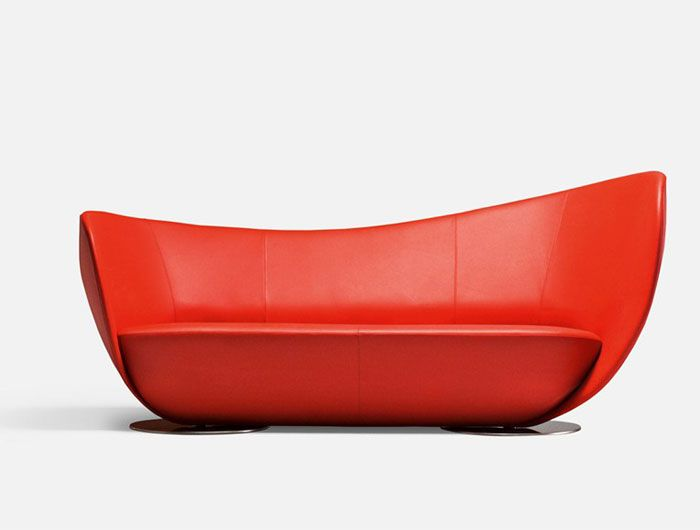 Wonderful Upholstered Leather Sofa By Peter Harvey Dynamic Shape Red Sofa1