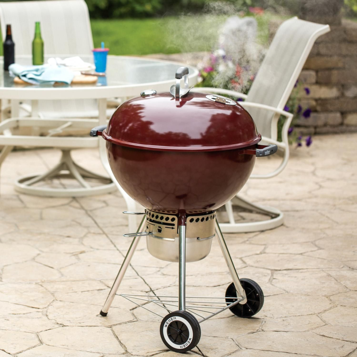 Weber Original Kettle Premium 22 Inch Charcoal Grill Crimson 14403001 Bbqguys Charcoal Grill Cooking Area Kettle