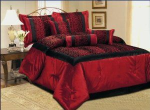 Red And Black Leopard Print Bedding Luxury Comforter Sets