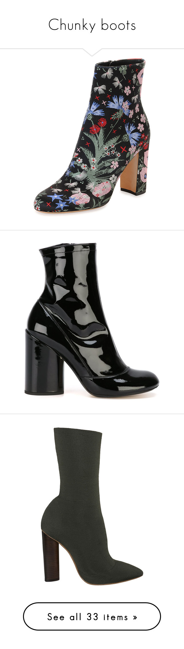 """""""Chunky boots"""" by laura-meldgaard ❤ liked on Polyvore featuring shoes, boots, multi, valentino boots, valentino shoes, black high heel shoes, black boots, floral boots, ankle booties and black"""