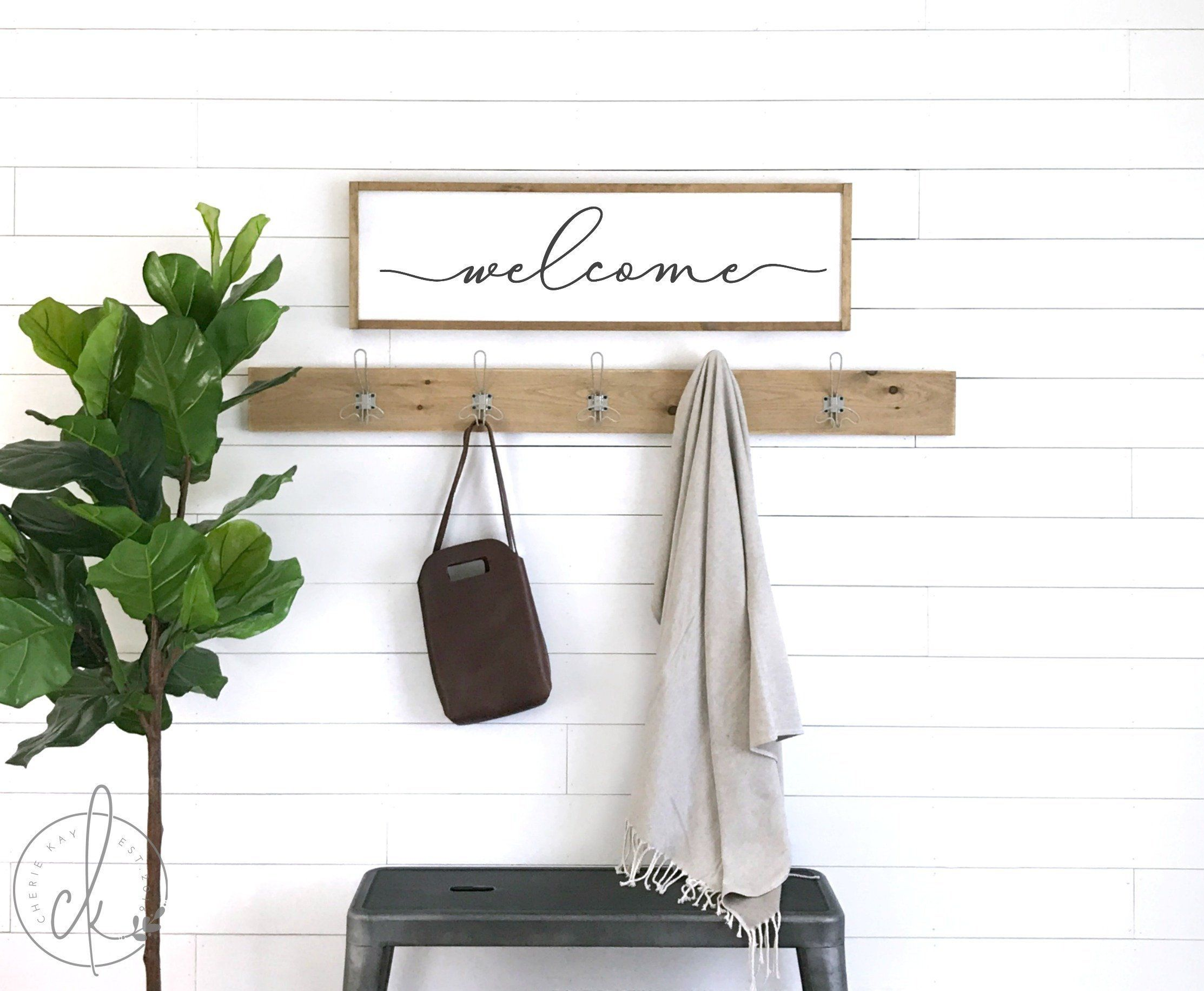 Welcome Sign Wood Framed Sign Welcome Decor Home Wall Etsy Entryway Wall Decor Entryway Signs Wall Art Entryway
