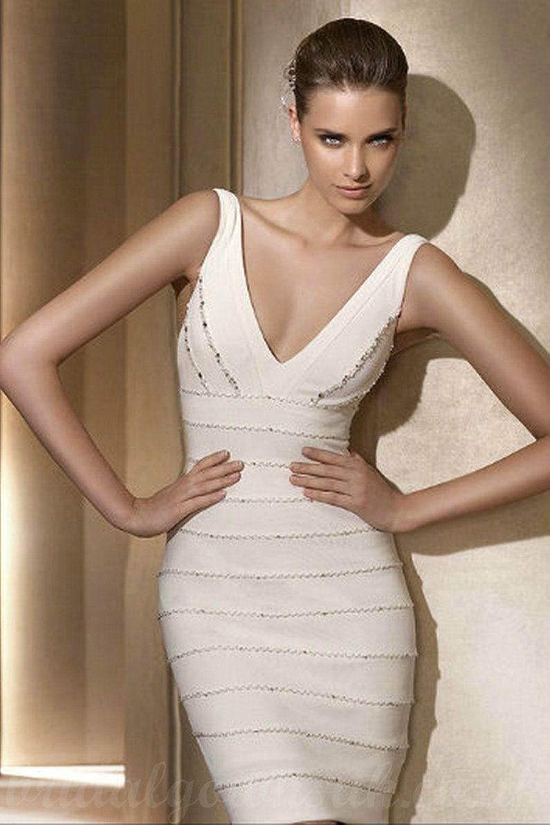 V Neck Satin Beaded Bodice Elegant Ivory Short Informal Bridal Gowns ...