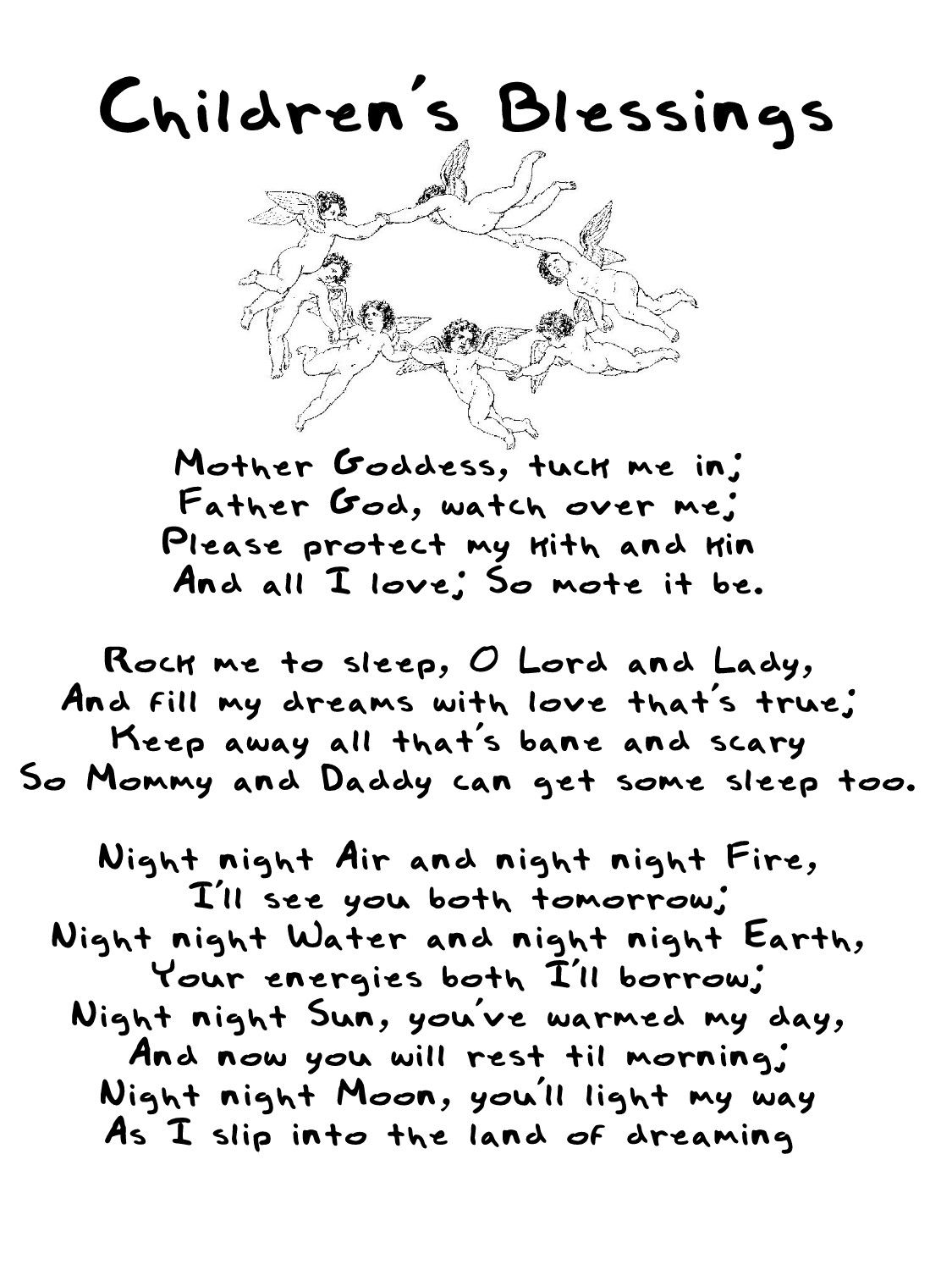 Children S Bedtime Prayers For Wiccans
