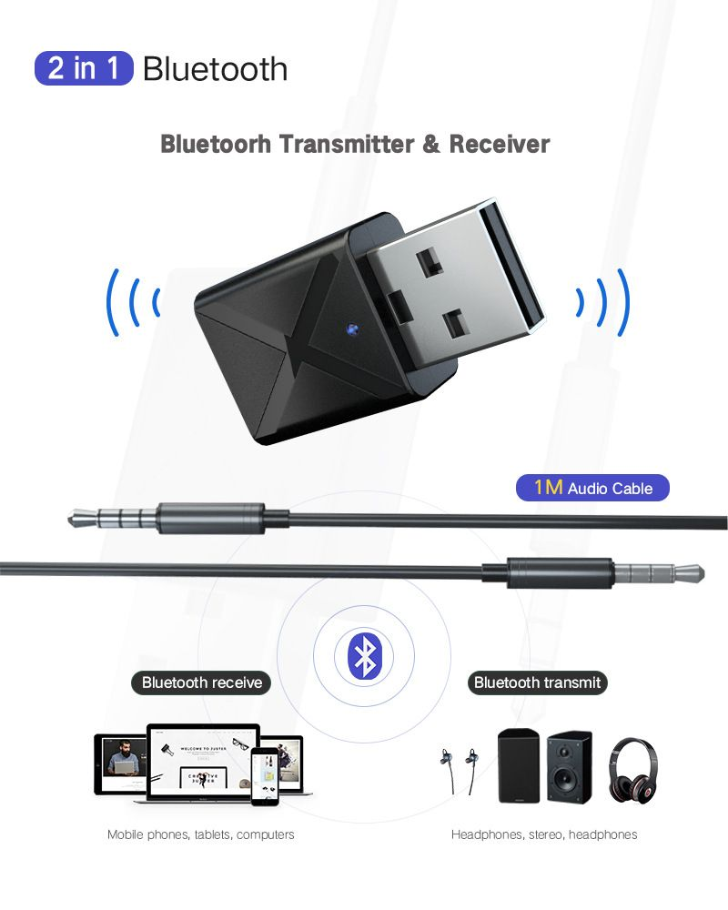 NEW USB Bluetooth Transmitter/& Receiver 3.5mm AUX Wireless Adapter For TV PC Car