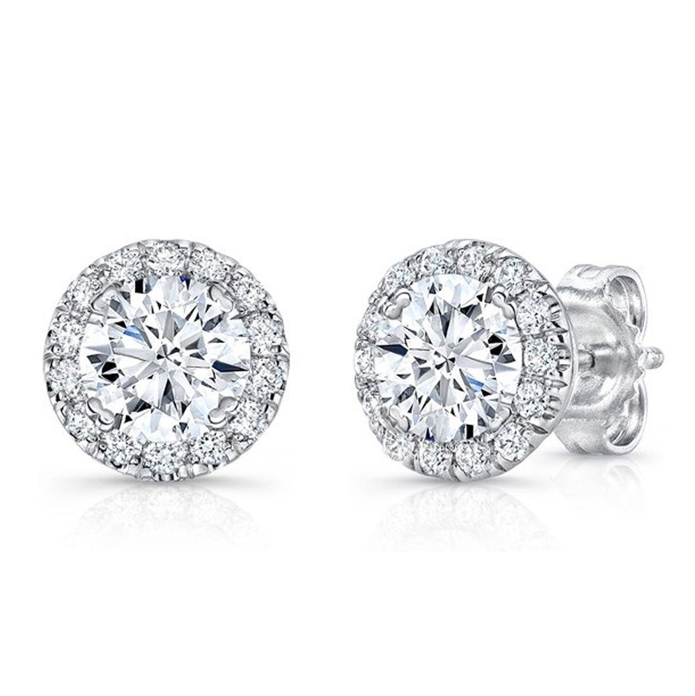 1 2ct White Diamond Screwback Stud Halo Earring 14k Solid White Gold Finish Aonede White Diamond Stud Earrings White Gold Diamond Earrings Halo Earrings Studs