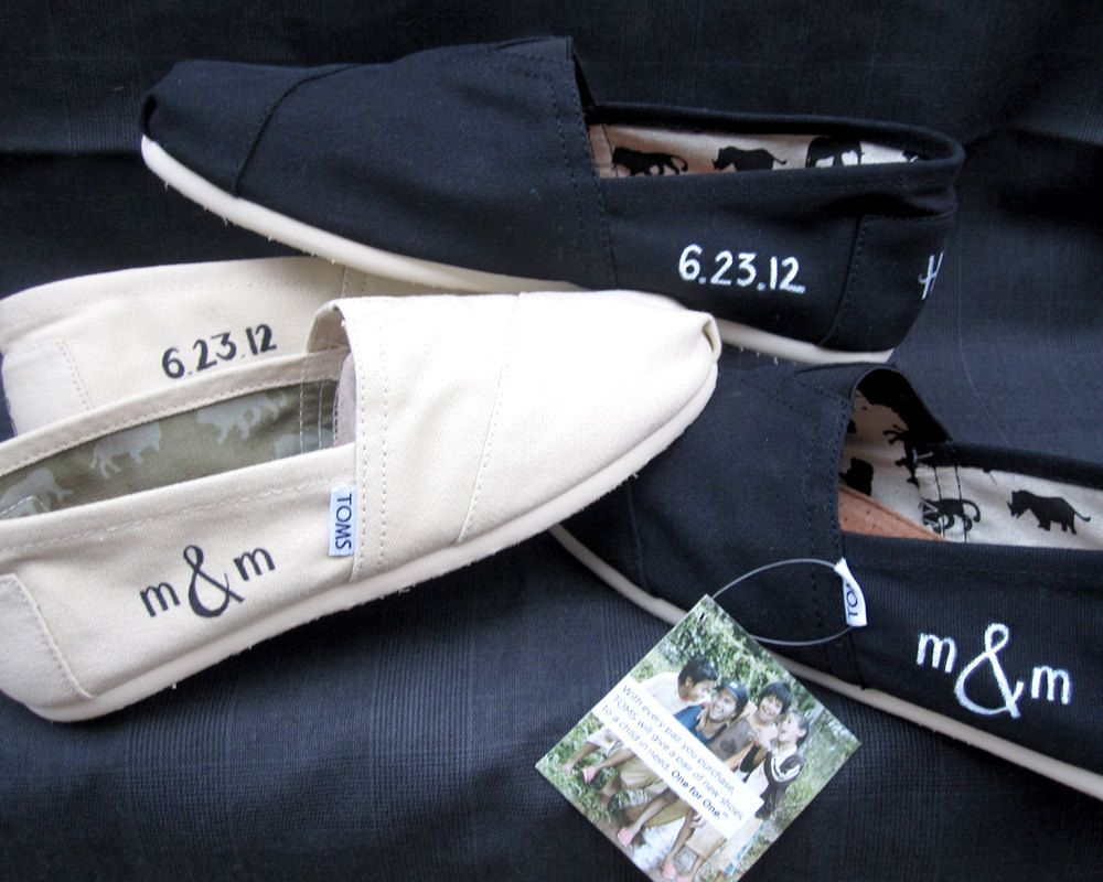 if the shoe fits toms wedding shoes custom toms embroidered initials and wedding date i d probably want a