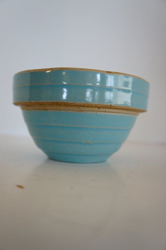 Antique Turquoise Blue Stoneware Bowl Crockery 5 In