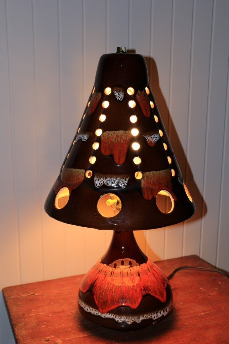 Twopiece table lamp with ceramic shade and base, by