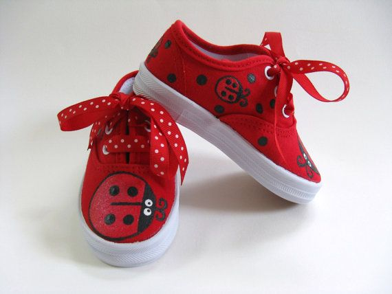 1f4e4ca55d840 Ladybug Shoes, Hand Painted Red Sneakers for Baby and Toddler ...