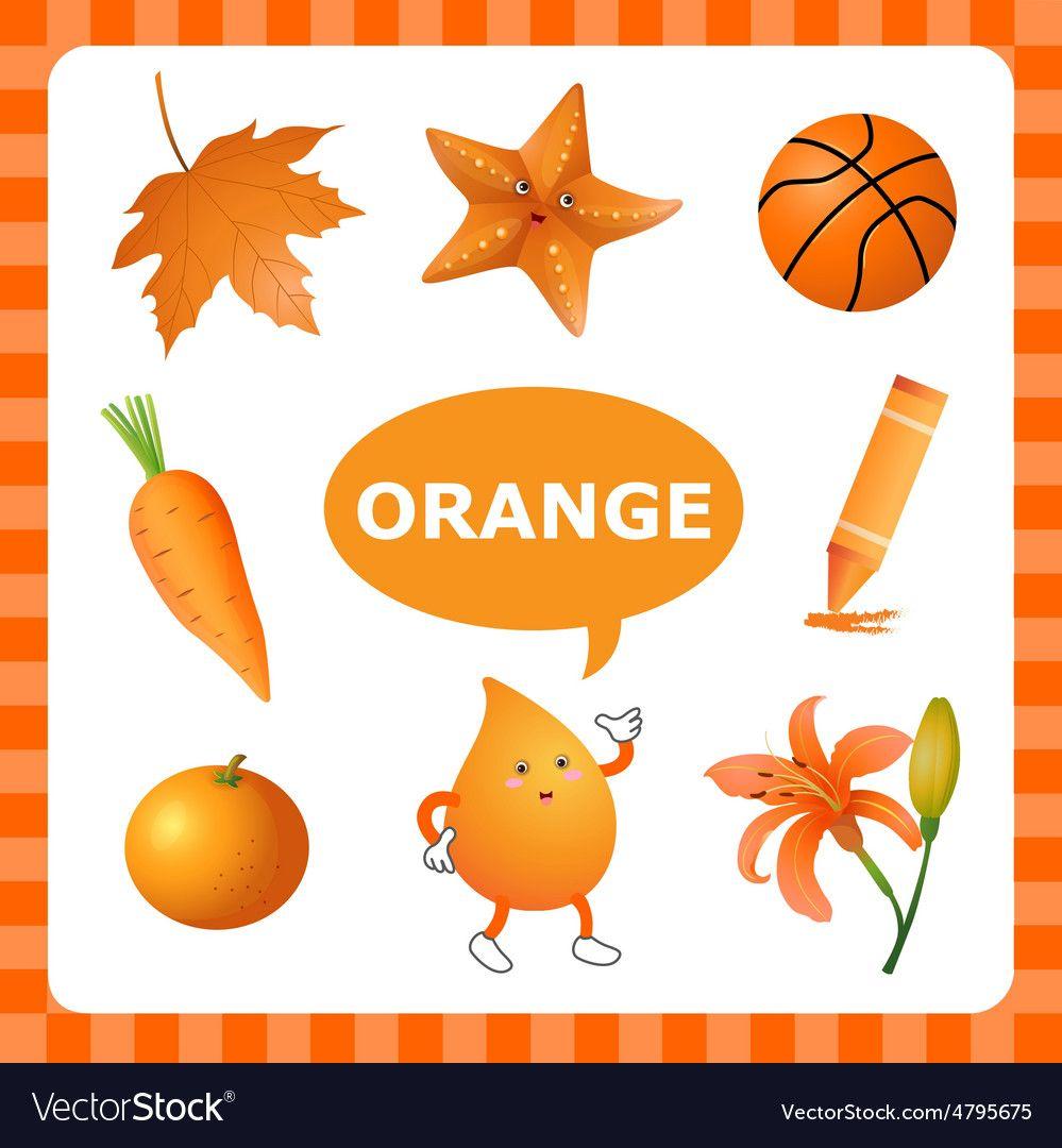 Learning Orange Color Royalty Free Vector Image Color Activities Kindergarten Preschool Color Activities Color Activities [ 1080 x 999 Pixel ]