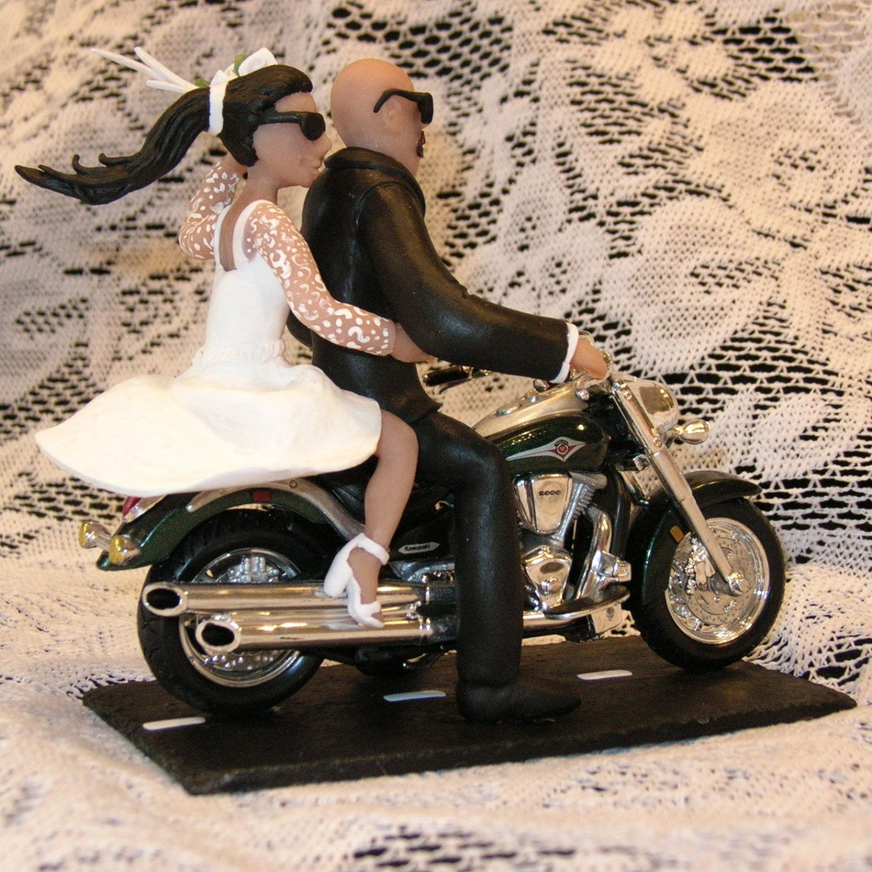 Wedding Cake Topper Motorcycle With Bald Groom 195 00 Caketopcreations Com Https Www Wedding Cake Toppers Wedding Cake Toppers Motorcycle Motorcycle Wedding