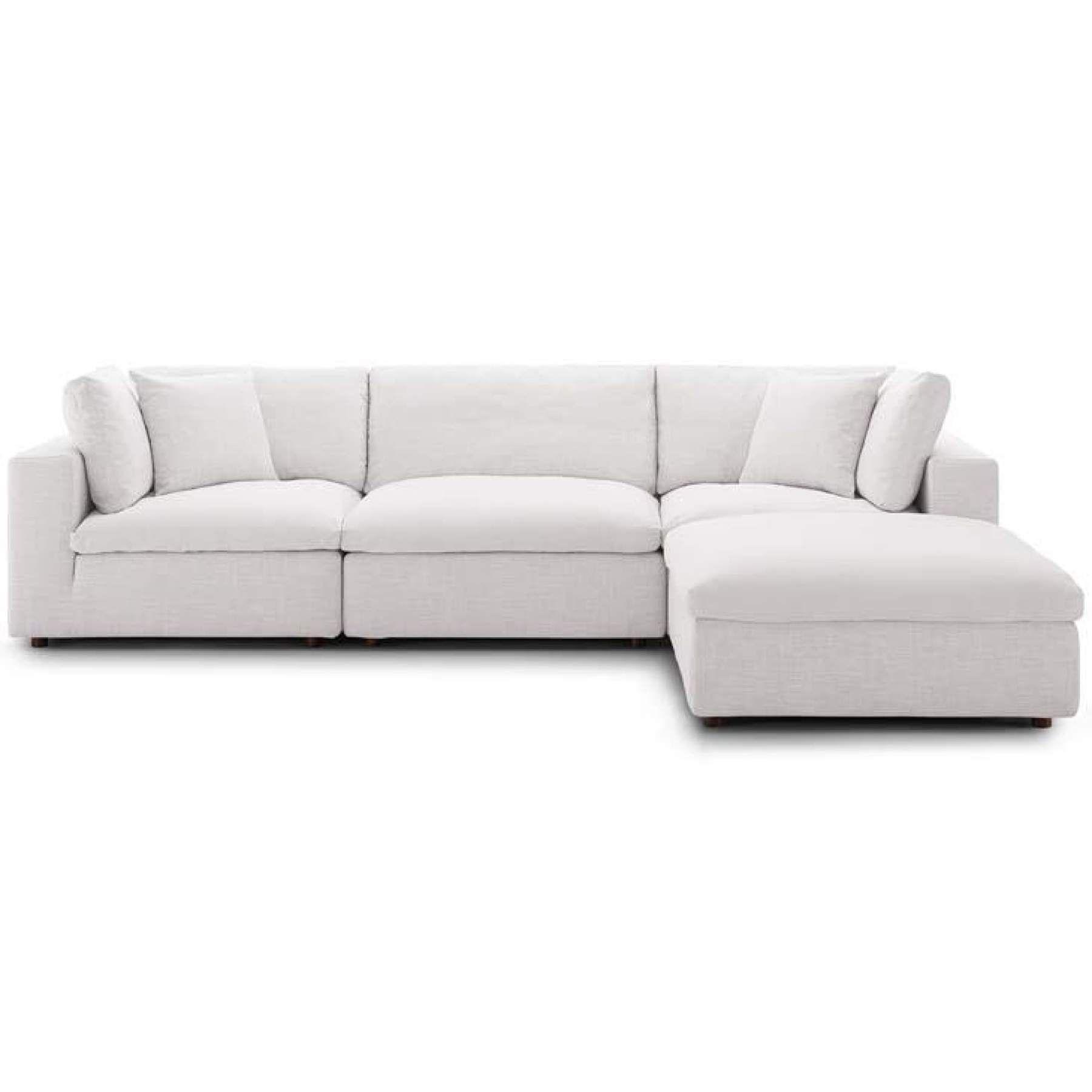 Crux Down Filled Overstuffed 4 Piece Sectional Sofa Beige Sofa