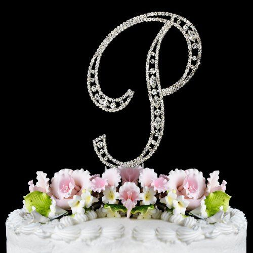 Vintage ~ Swarovski Crystal Wedding Cake Topper ~ Letter P..... Cute!!
