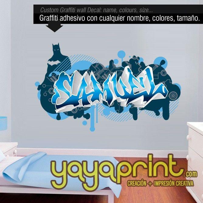 Graffiti nombre decoraci n habitaci n cuarto dormitorio - Habitacion juvenil nino ...
