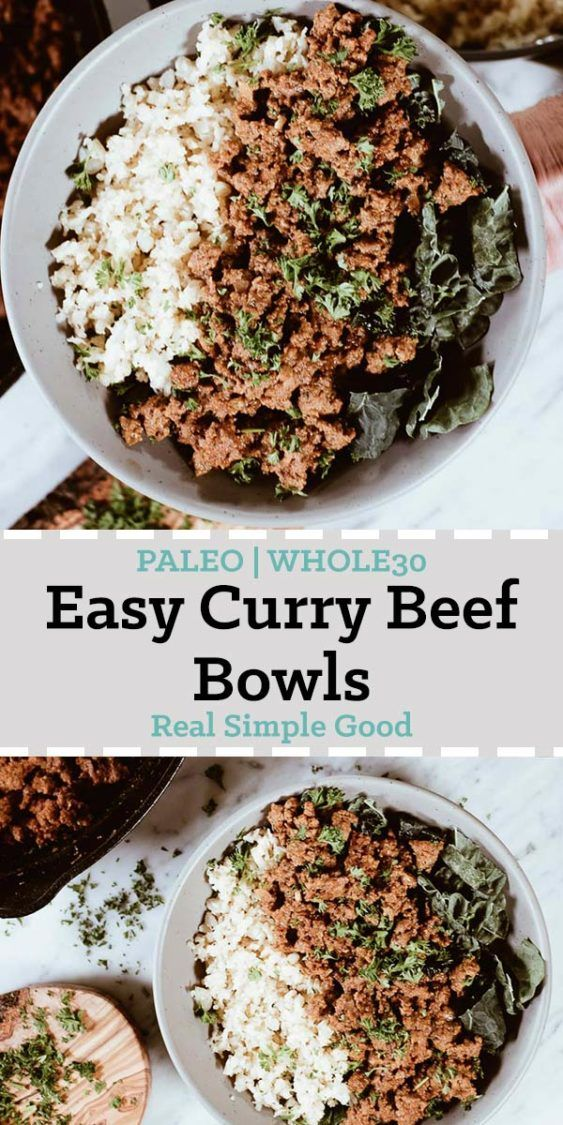 Today we are sharing with you our newest favorite dinner - the Paleo and Whole30 Easy Curry Beef Bowls! It's become a quick favorite because it's SO fast and easy to make and extra delicious too! #paleo #whole30 | realsimplegood.com