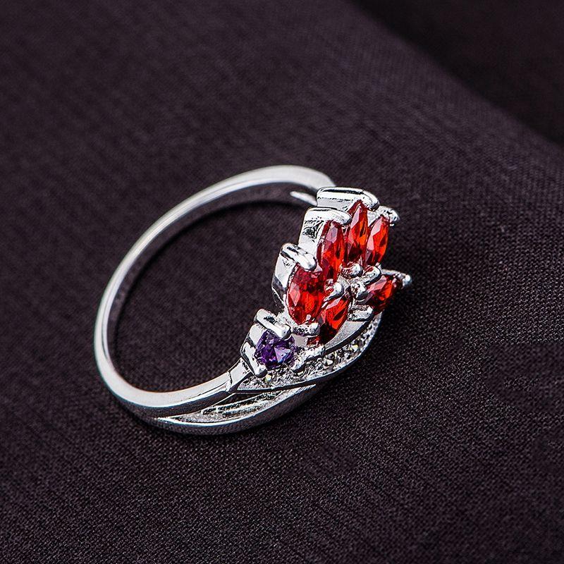 Commercio all'ingrosso anello d'argento, monili d'argento, rosso intarsiato graceful/chxakzea dzfamqma LQ-R572