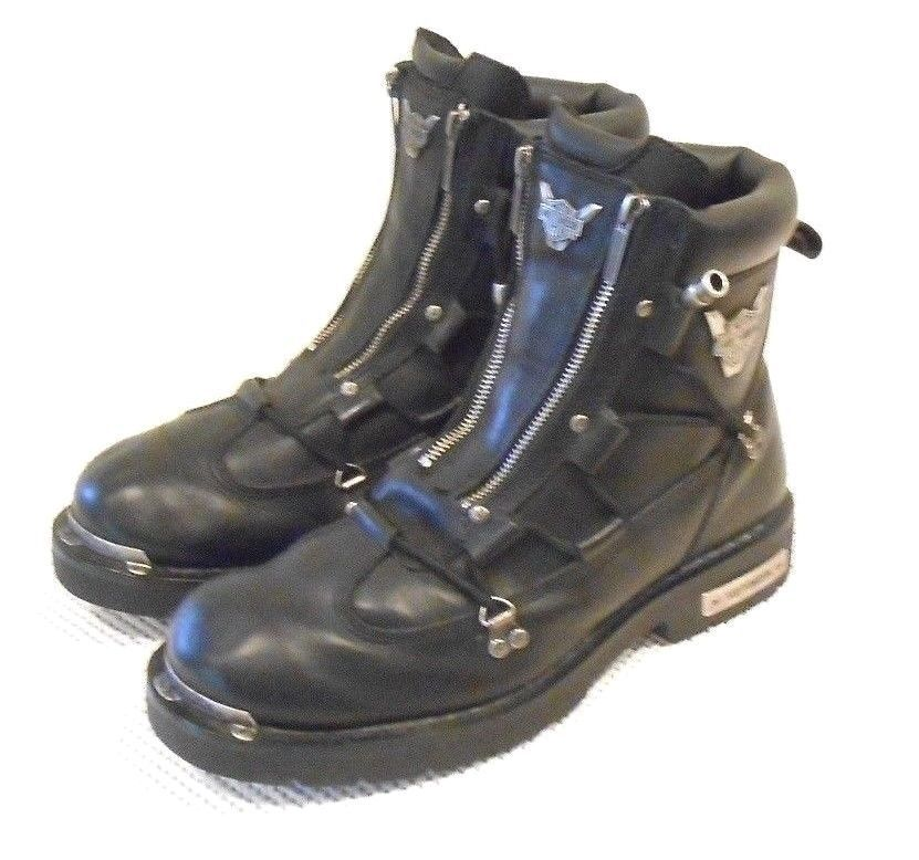 Mens Harley Davidson Brake Light Leather Motorcycle Boots -8413