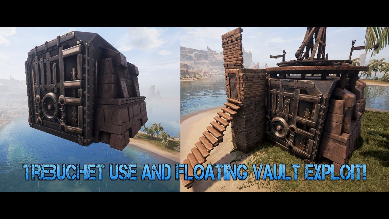 Floating Vault Exploit??? Vault Trebuchet Raid Tower! Conan Exiles
