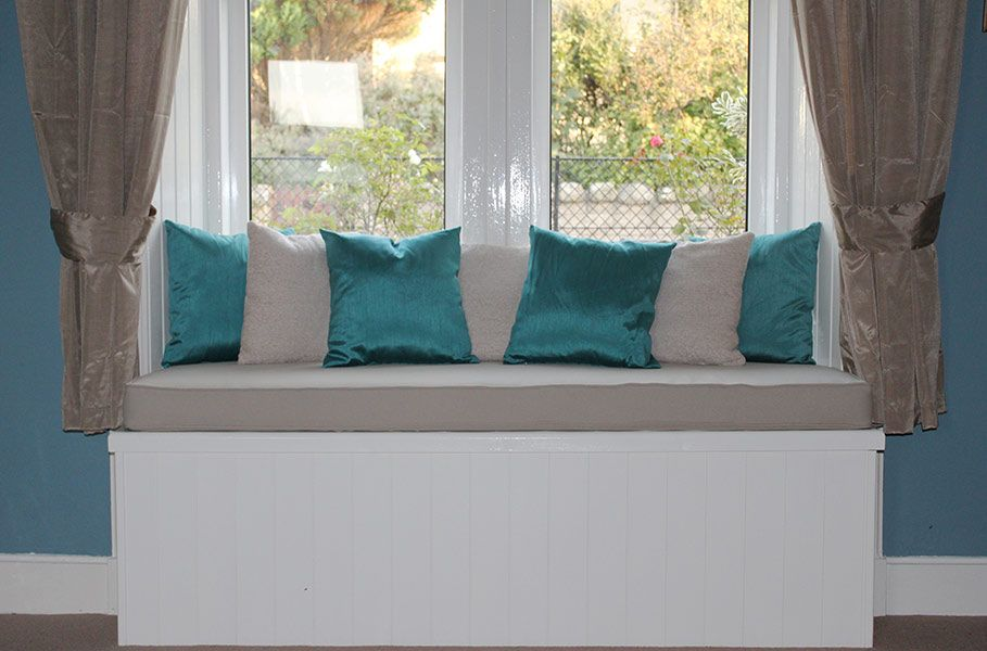 Made To Measure Window Seat Cushion With Matching Coloured Scatter Cushions Helping To Enhance The