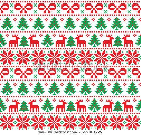 New Year's Christmas Pattern Pixel Card Scandynavian Norwegian Inspiration Christmas Pattern
