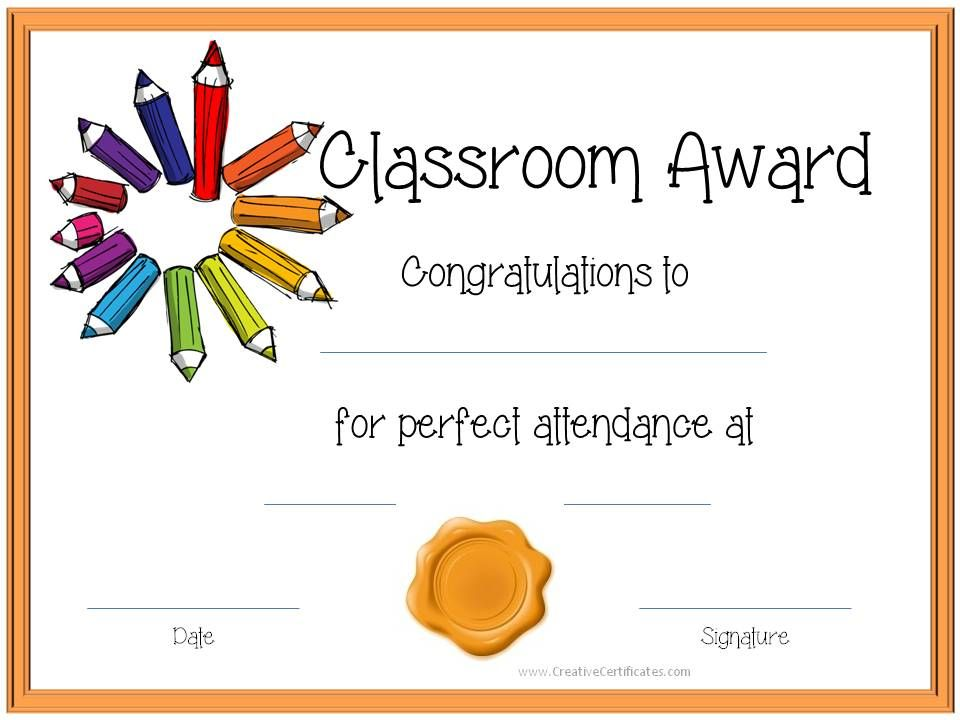 Certificate Template For Kids Perfect attendance award certificates - new preschool certificate templates free