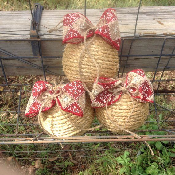 Rope Wrapped Rustic Christmas ornament, farmhouse ornament ...