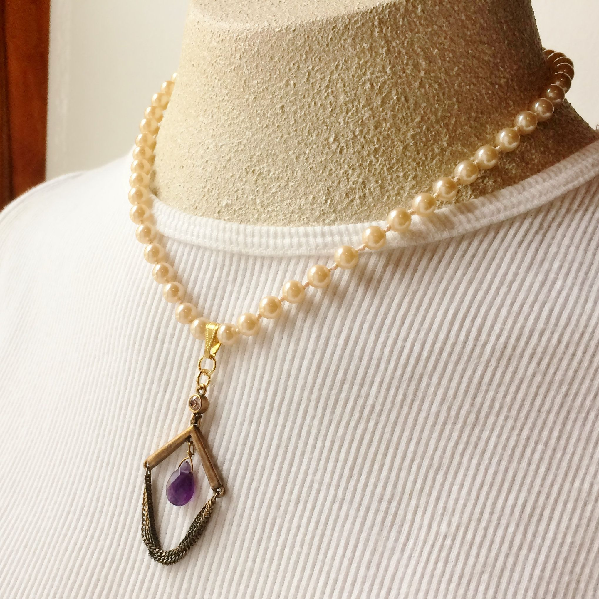 Vintage purple amethyst stone pendant and pearl necklace, Chain tassel, Handcrafted sustainable fashion, Vintage assemblage