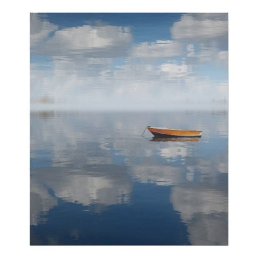Rowboat Reflection Tranquil Waters Print