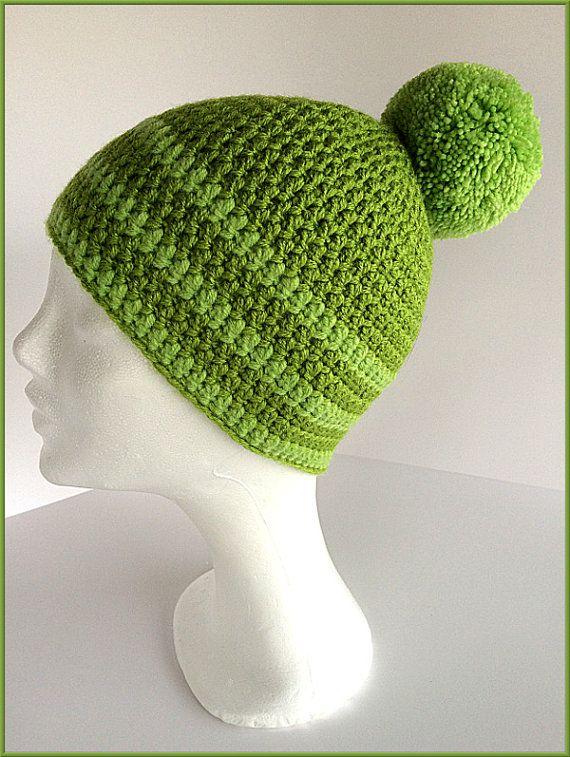 452c7b351f76f Pom pom beanie Green beanie Green winter cap Ski hat by gremArt