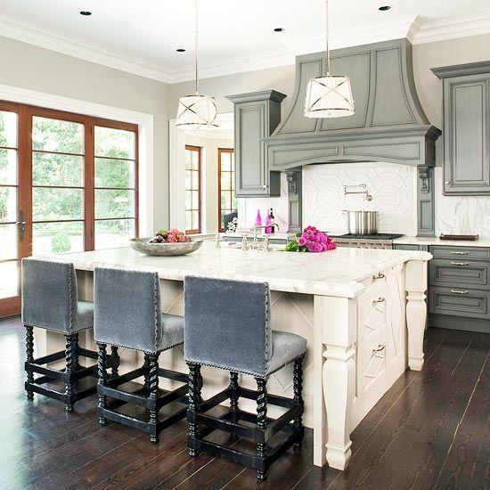 Grey Kitchen Cabinets Lovely Pendant Lights Great Blue Grey Barstools White Island Marble Dark Hardwood Floors Dream Kitchens Design Home Kitchens Home
