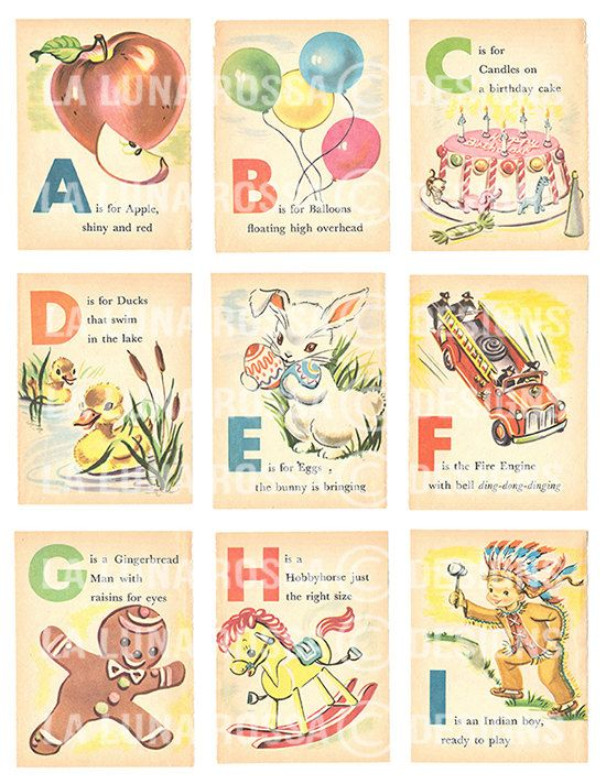 A Set Of Three Crisp High Resolution Full Printable Sheets Come From These Amazing Vintage Alphabet Cards Images Were Scanned