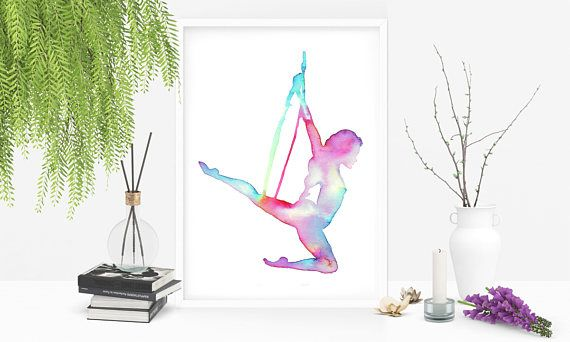 Original watercolor art: Aerial hoop- Rainbow Lyra for aerial dancers. Circus life. Illustration by Aurora Gritti