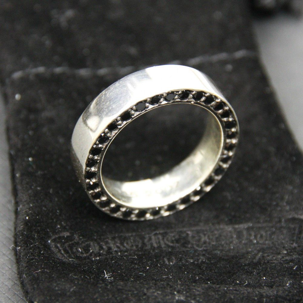 494f55eac07 RARE 100% Authentic CHROME HEARTS Black Diamond 6mm .925 Silver Spacer Ring  8.5  CHROMEHEARTS  SPACER