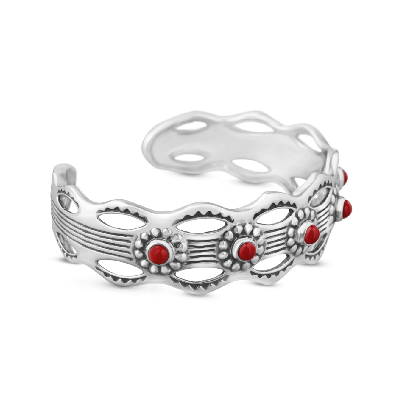 Carolyn Pollack Jewelry | American West Artisan Red Coral Southwest Cuff Bracelet