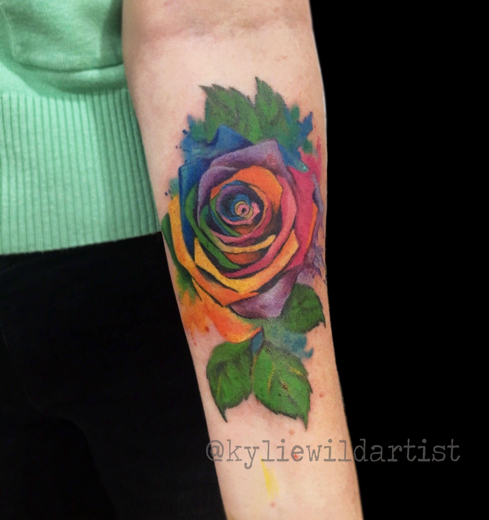 Rainbow Rose Watercolour Tattoo By Kylie Wild Heslop Www Artgonewild Com Au Coloured Rose Tattoo Rainbow Tattoos Watercolor Rose Tattoos