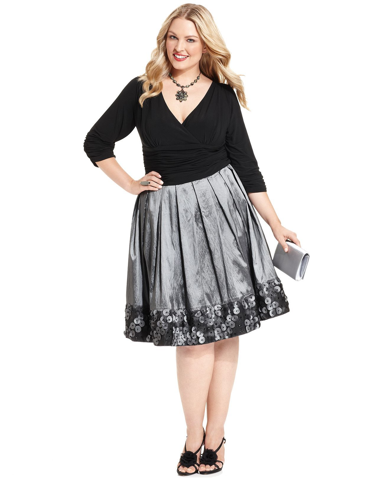 Sl Fashions Plus Size Dress Three Quarter Sleeve Ruched Pleated