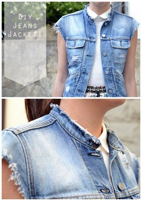 47365905d83 DIY Thrifted Jean Jacket to Distressed Denim Vest from Born in 82 here.