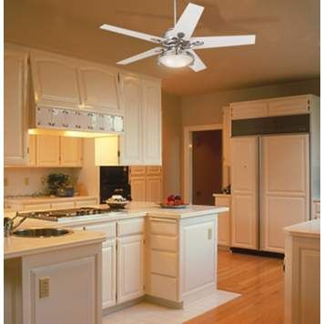 A Glossy White Ceiling Fan Subtly Accents This Kitchen Picture